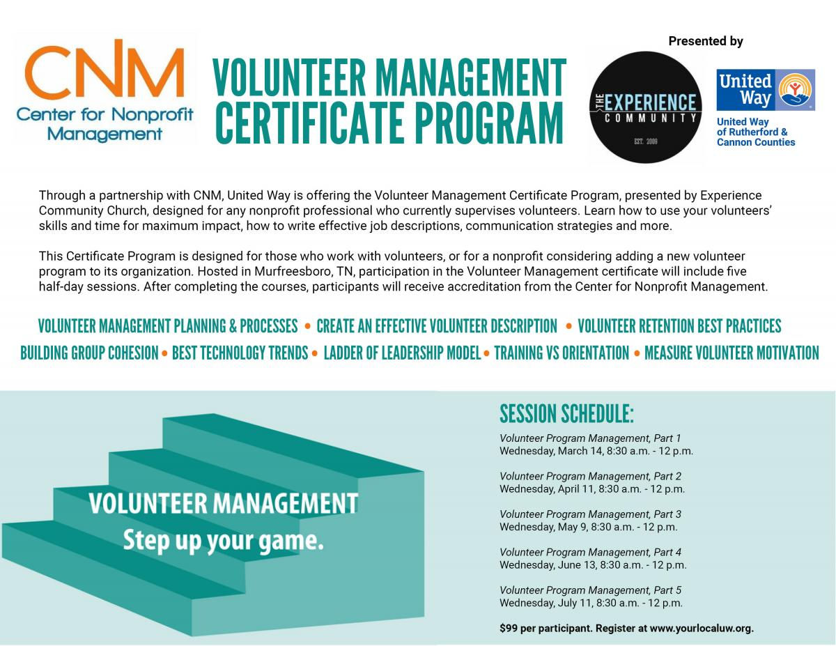 Volunteer Management Certificate Program | United Way of Rutherford ...